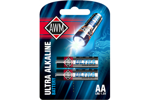 Батарейки пальчиковые щелочные AWM AA LR6 1,5V блистер( комплект 2 шт)
